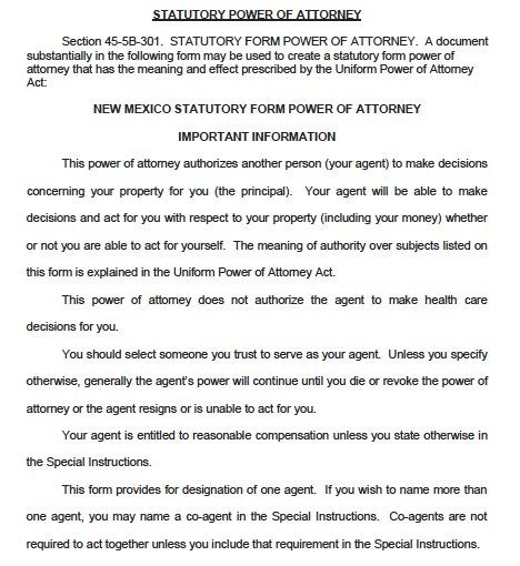 Free Durable Power of Attorney New Mexico Form – Adobe PDF