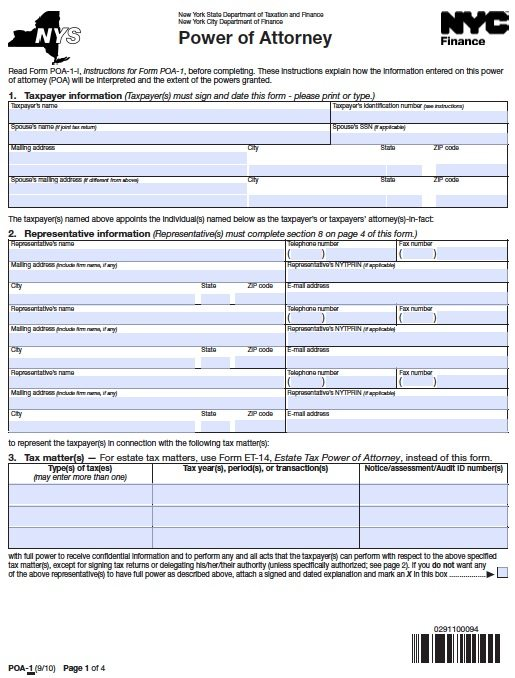 New York Tax POA - Form