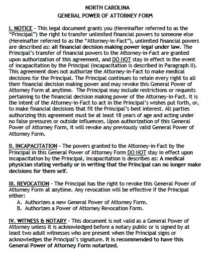 Free General Power of Attorney North Carolina Form – Adobe PDF