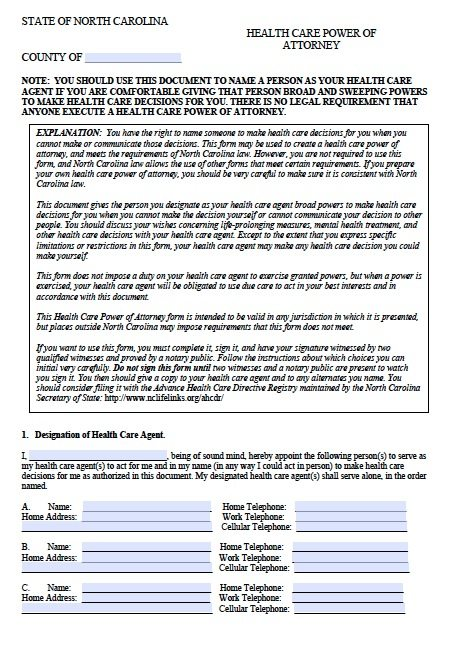 Free Medical Power Of Attorney North Carolina Form  Adobe Pdf