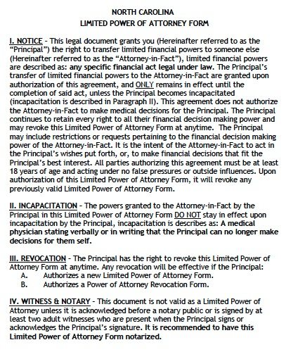 Free Limited Power Of Attorney North Carolina Form Adobe Pdf
