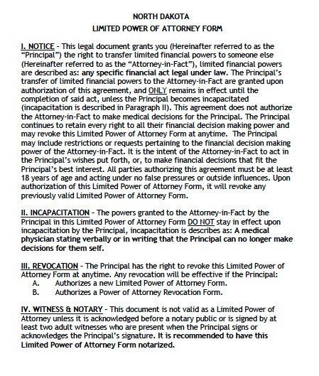 North Dakota Limited Power of Attorney Form