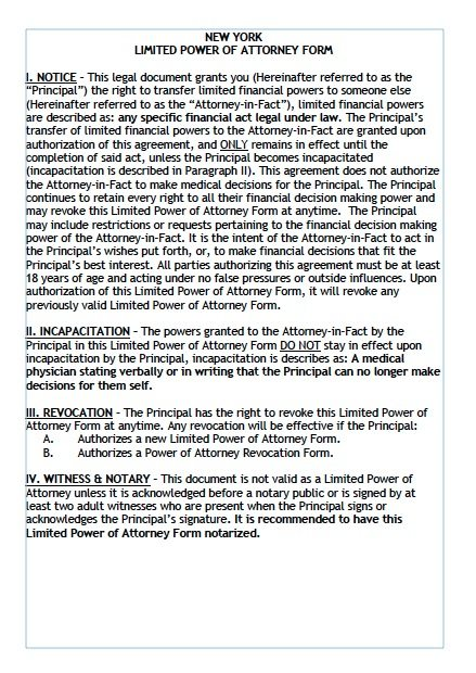 Free Limited Power Of Attorney New York Form Adobe Pdf