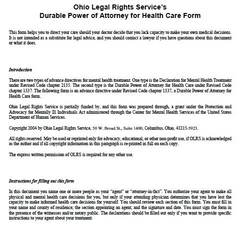 Free Medical Power Of Attorney Ohio Form – Adobe Pdf