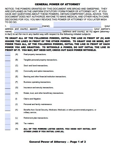 Free General Power of Attorney Oklahoma Form Adobe PDF – General Power of Attorney Form
