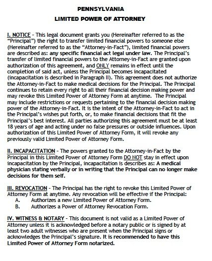 Free Limited Power Of Attorney Pennsylvania Form Adobe Pdf
