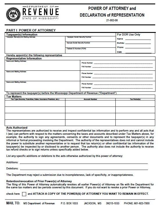 Free Tax Power Of Attorney Mississippi Form Adobe Pdf