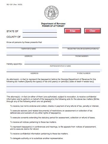 RD-1061 Georgia Tax Power of Attorney Form