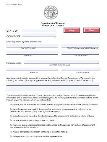 RD-1061 Georgia Tax Power of Attorney Form