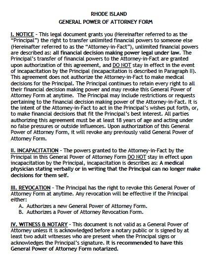 Rhode Island General Power of Attorney
