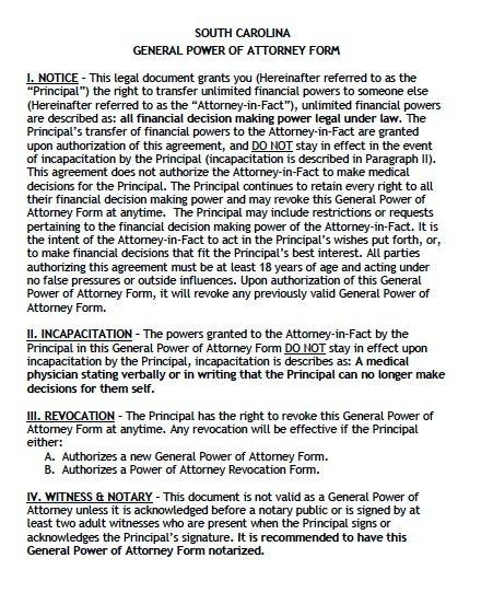 Free General Power of Attorney South Carolina Form – Adobe PDF