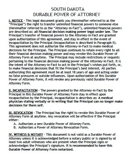 South Dakota Durable Power of Attorney