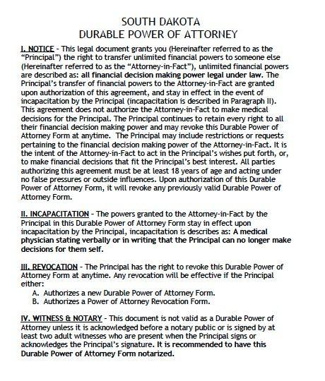 South Dakota Durable Power of Attorney