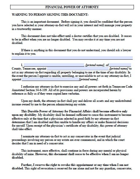 Free Durable Power Of Attorney Tennessee Form – Adobe Pdf