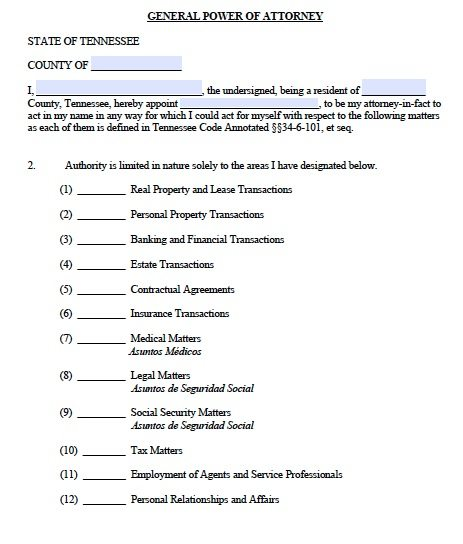 Free General Power Of Attorney Tennessee Form – Adobe Pdf