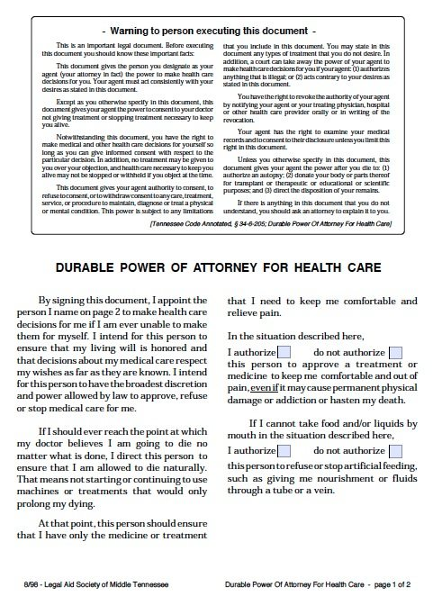 Free Medical Power Of Attorney Tennessee Form  Adobe Pdf