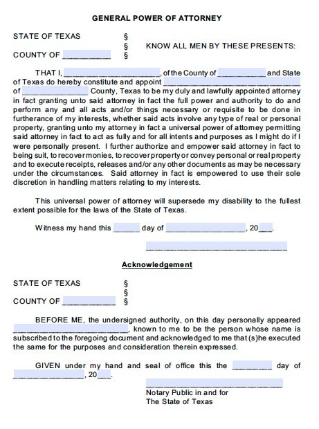 Free General Power of Attorney Texas Form Adobe PDF – Sample Durable Power of Attorney Form