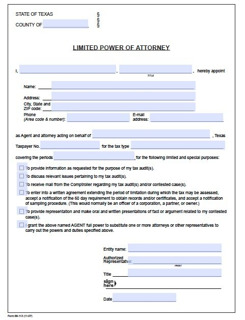 Free Tax Power Of Attorney Texas Form – Adobe Pdf
