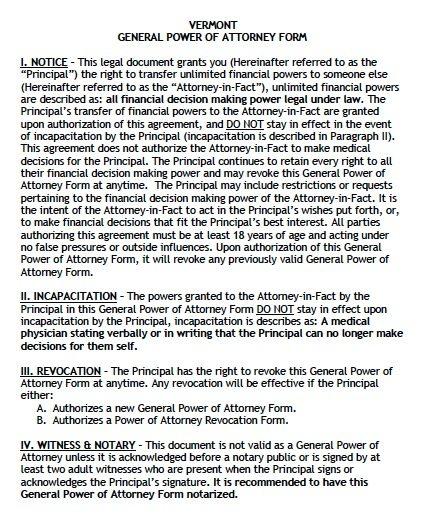 Vermont General Power of Attorney