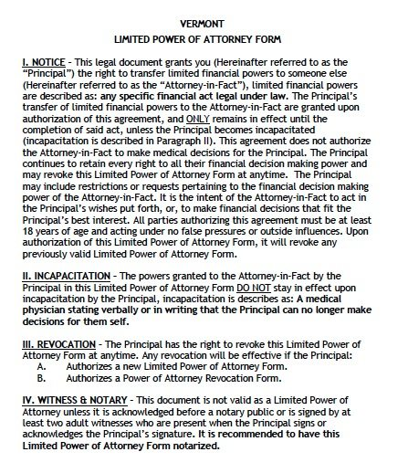 Vermont Limited Power of Attorney Form