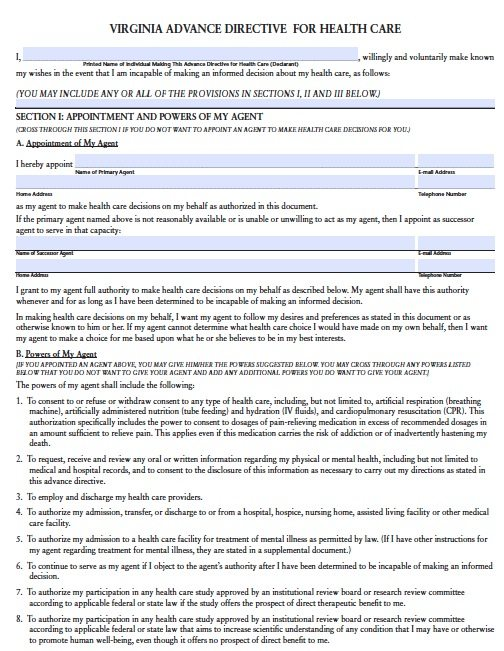 Free Medical Power Of Attorney Virginia Form  Adobe Pdf