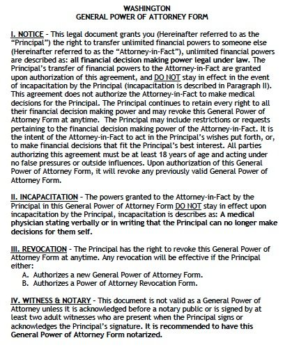 Free General Power Of Attorney Washington Form Adobe Pdf