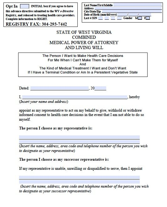 Free medical power of attorney west virginia form adobe pdf for Advanced directive template