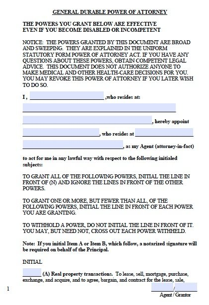 Free Durable Power of Attorney West Virginia Form Adobe PDF – Durable Power of Attorney Forms