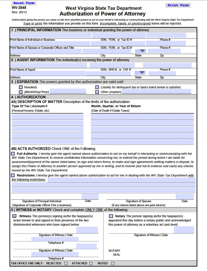 Free Tax Power of Attorney West Virginia Form – Adobe PDF