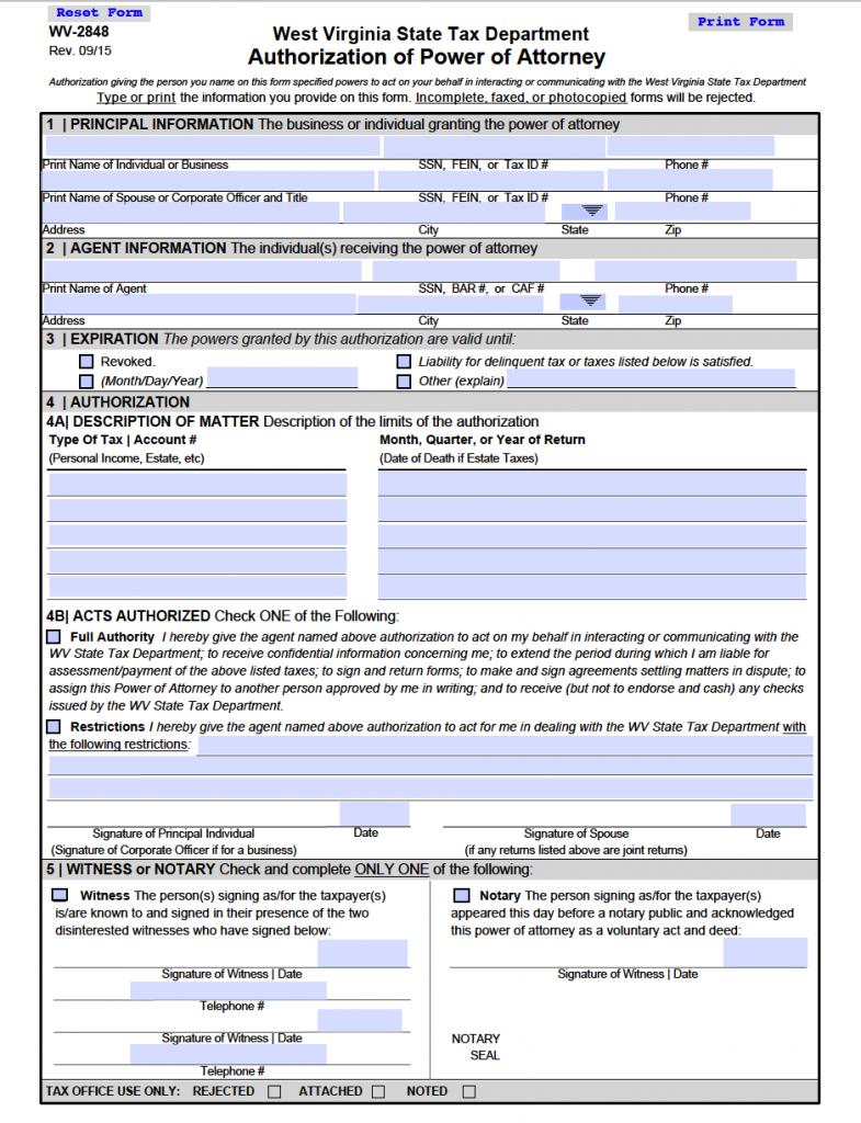 West Virginia Tax POA (2848)