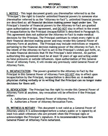 power of attorney form wyoming  Free General Power of Attorney Wyoming Form – Adobe PDF