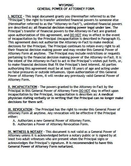 Free General Power Of Attorney Wyoming Form Adobe Pdf