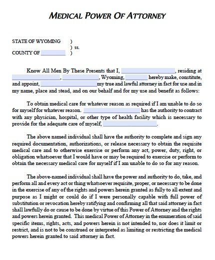 Free Medical Power Of Attorney Wyoming Form – Adobe Pdf