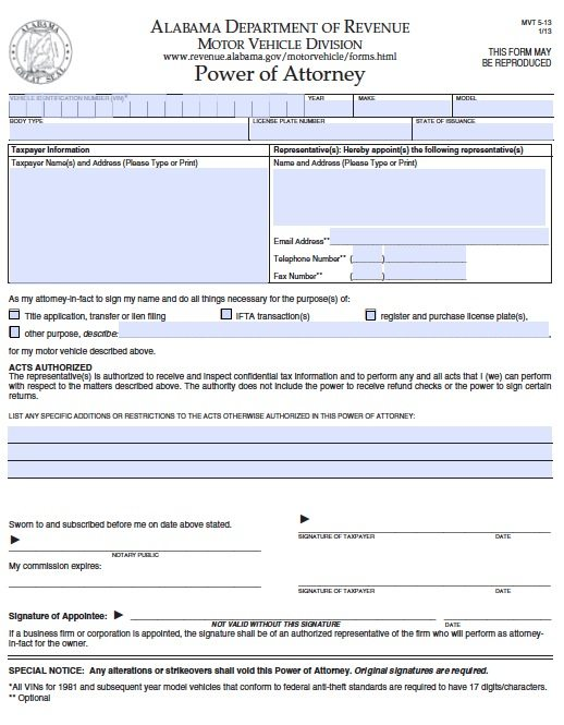Free Motor Vehicles Division Alabama Power Of Attorney Form – Pdf