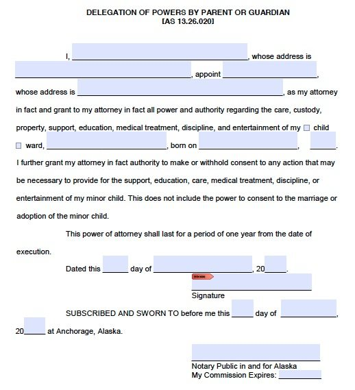Free Parental Power Of Attorney Guardianship  Alaska  Pdf Template