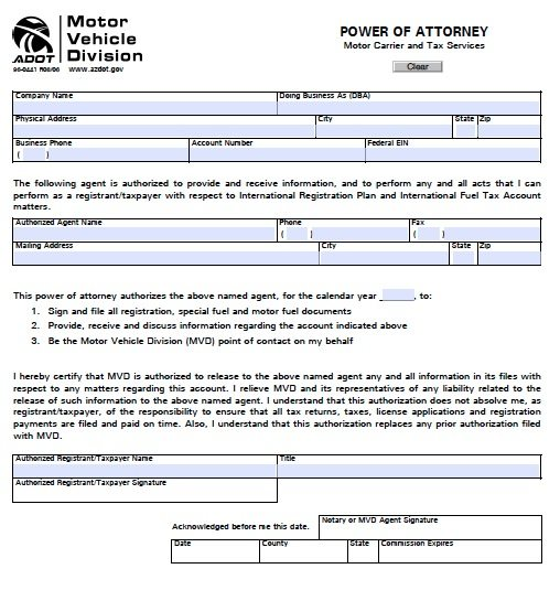 Free Motor Vehicle Division Mvd Power Of Attorney Arizona Pdf Template