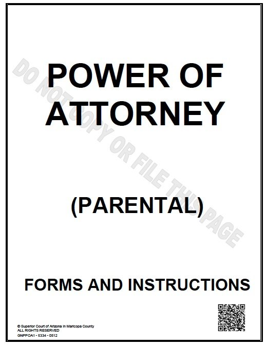 Free Parental Guardianship Arizona Power Of Attorney Form – Pdf