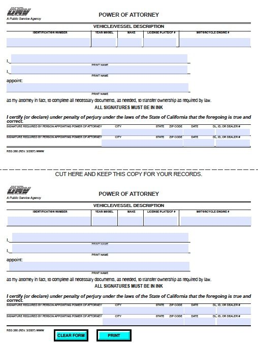 Free Vehicle Power of Attorney Form for California – Adobe PDF