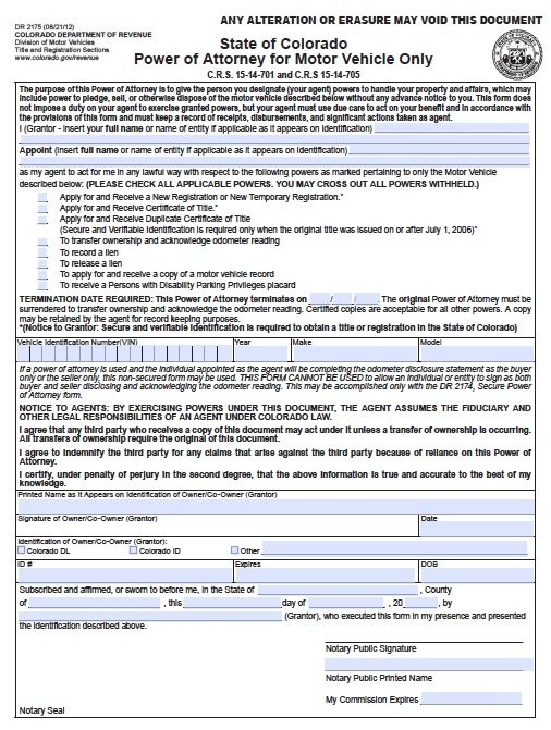 Free Vehicle Power Of Attorney Form Colorado – Pdf Template