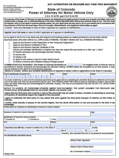 Colorado Vehicle POA Form