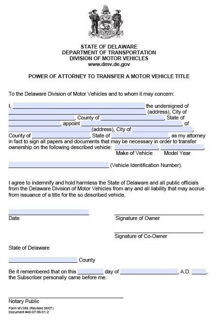 Free Dmv Power Of Attorney Form Delaware  Pdf Template