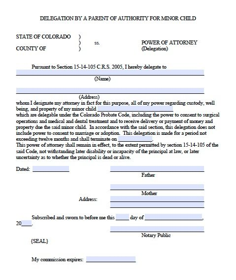 Free Minor Child Power Of Attorney Delegation Form Colorado  Pdf