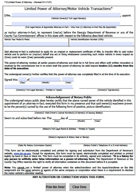 Free Vehicle Power Of Attorney Form For Georgia – Adobe Pdf – T-8