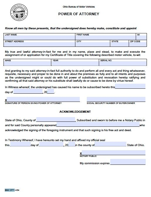 Free Motor Vehicle Power Of Attorney Ohio Form – Bmv 3771 – Pdf