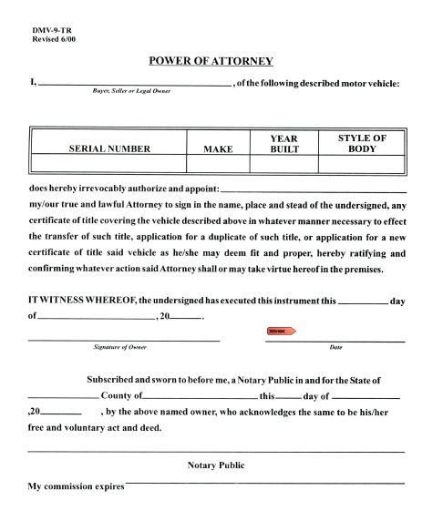 Free Vehicle Power of Attorney West Virginia – PDF