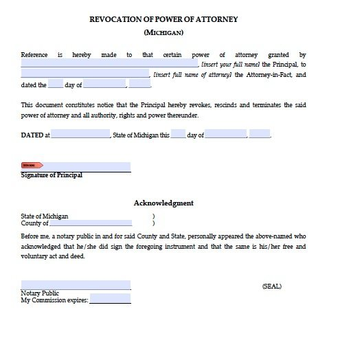Free Revocation Of Power Of Attorney Form – Michigan – Adobe Pdf