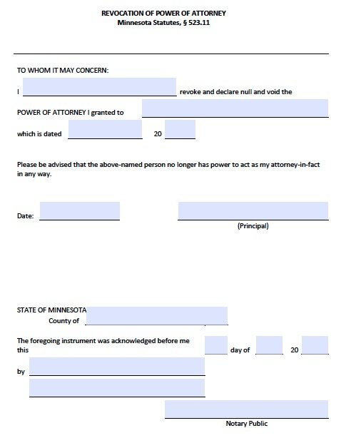 Free Revocation Form For Minnesota Power Of Attorney  Pdf Template