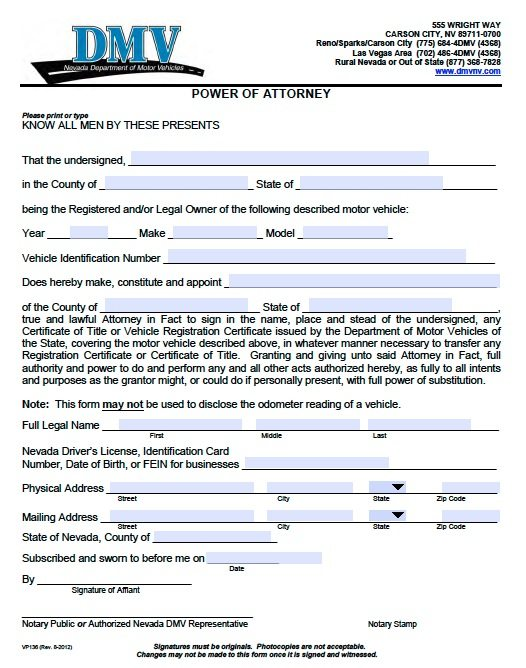 Free Vehicle Power Of Attorney Nevada – Form 136 – Dmv – Adobe Pdf