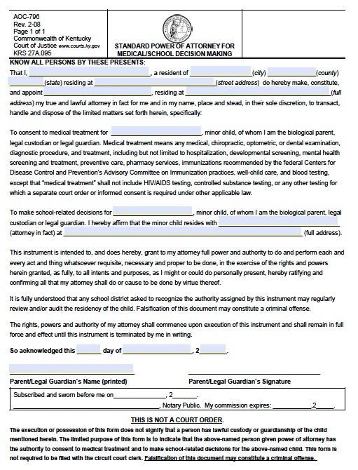 Free Minor Child Power Of Attorney Kentucky Form – School