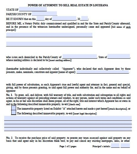 Free Real Estate Only Power Of Attorney Louisiana Form  Pdf Template